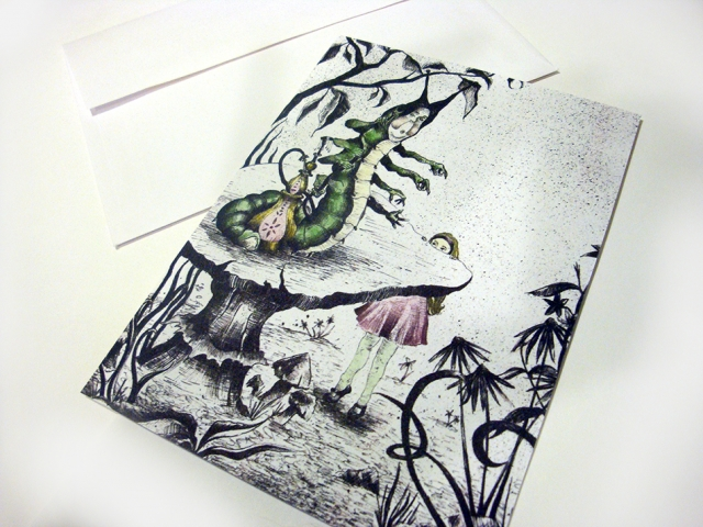 Alice Meets the Caterpillar Greeting Card