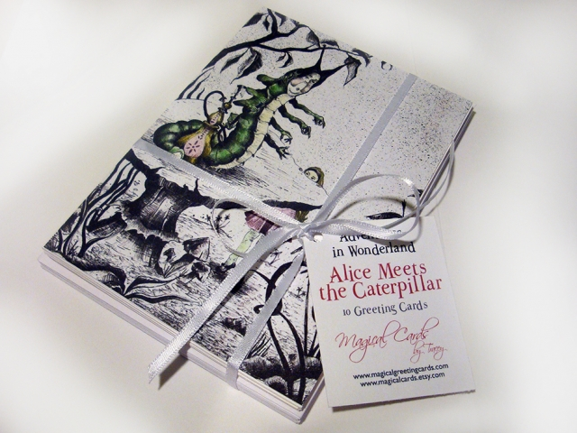 Alice Meets the Caterpillar Greeting Cards