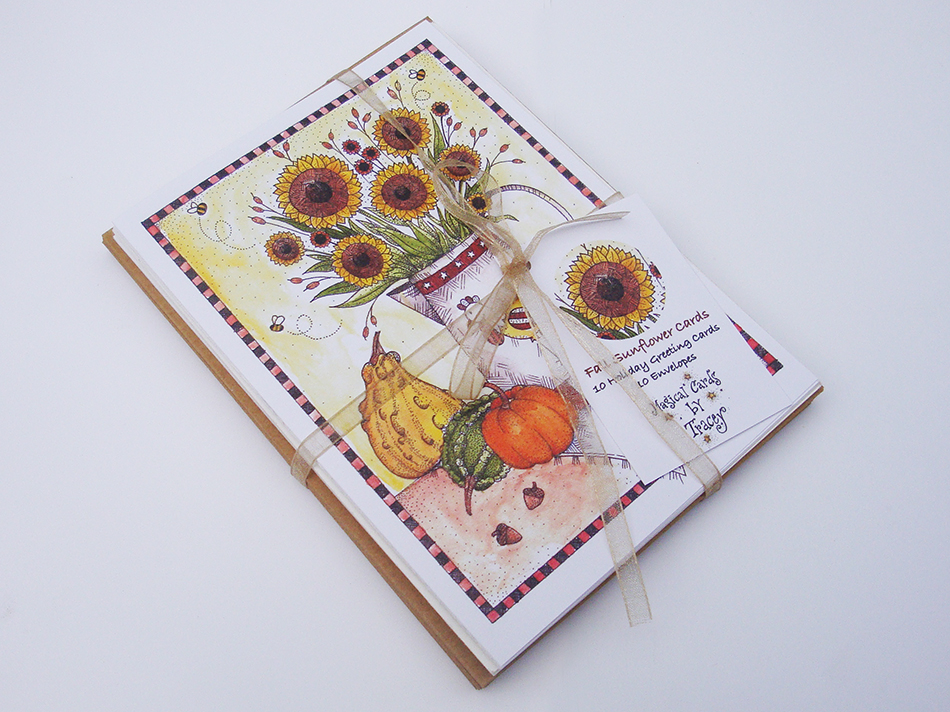 Harvest Sunflowers Greeting Cards